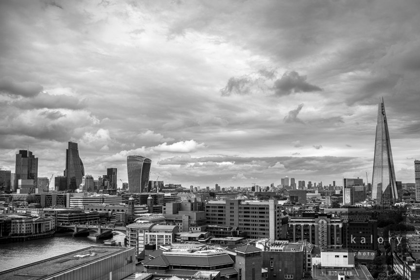 black and white views of the London city from Switch house the new tate modern extension