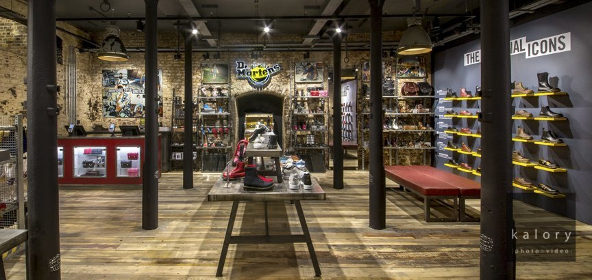 UK retail interior photographer an example with dr martens picture