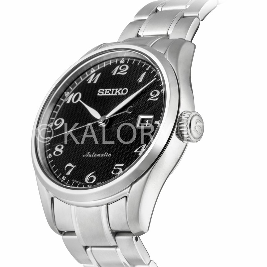 Black dial and steel bracelet watch by seiko