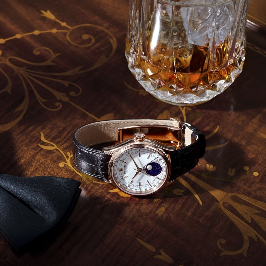 Watch photoshoot of the Rolex Cellini Moonphase #17 at Kalory Photo studio